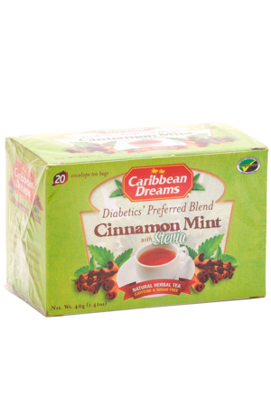 Caribbean Dreams Cinnamon Mint Tea (pack of 20 tea bags) | Diabetics Tea, Caffeine Free, Sugar Free