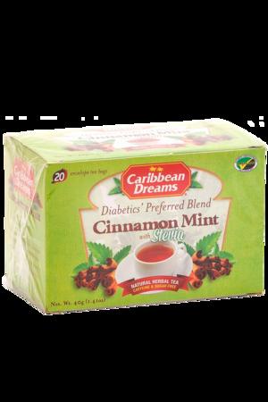 Caribbean Dreams Cinnamon Mint Tea (pack of 20 tea bags) | Diabetics Tea, Caffeine Free, Sugar Free