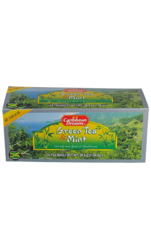 Caribbean Dreams Green Tea & Mint (pack of 24 tea bags) | Caffeine Free
