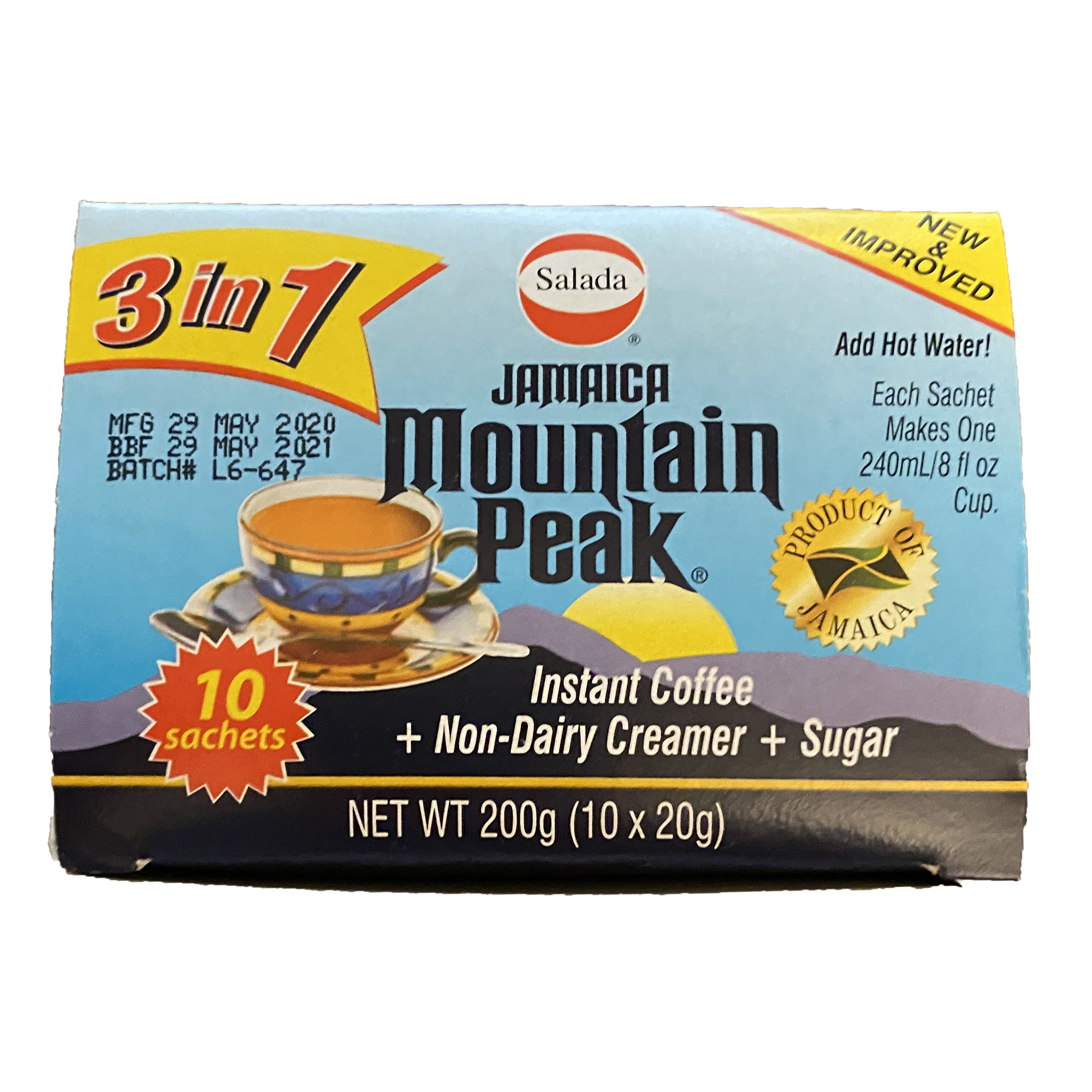 Jamaican Mountain 3-1 Instant Coffee Packets | With Sugar and Non-Dairy Creamer, Just Add Water!
